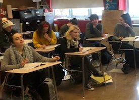 Students in AP courses, like the one pictured here will face a new decision this year:  to test or not to test.  How much will cost affect their decisions?