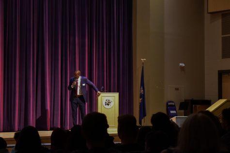Congressman Delgado address the high school on May 29th.