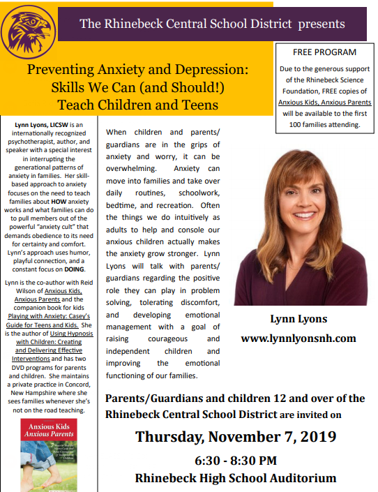 Lynn Lyons to Present on Anxiety Prevention