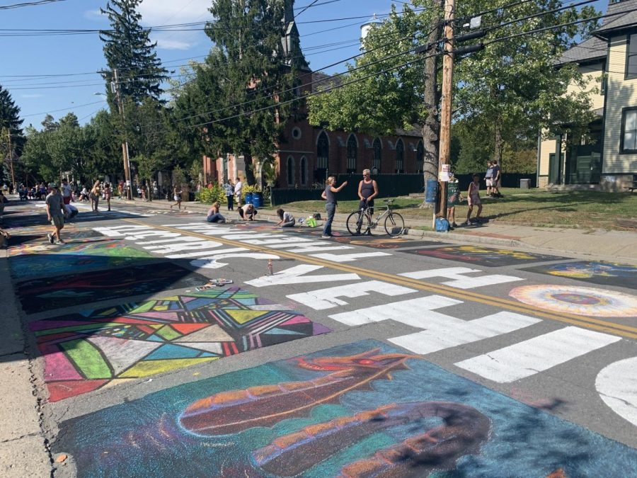 Colorful artwork commemorates the 20th annual Street painting.