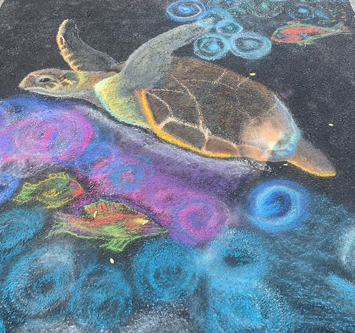 A well-liked chalk turtle swims down Broadway.