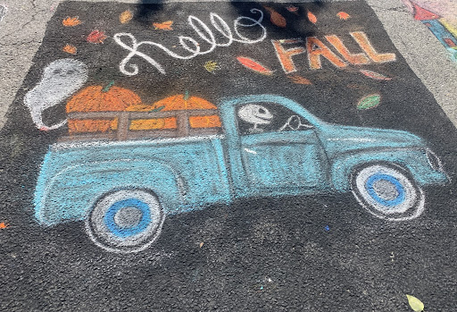 """""""Hello Fall"""" reads chalk art as artists and viewers gear up for the new season."""
