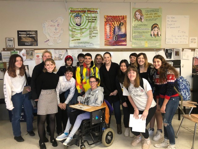 After speaking to the entire school, Chaeli Mycroft visits the staff of Rhinebeck Reality.