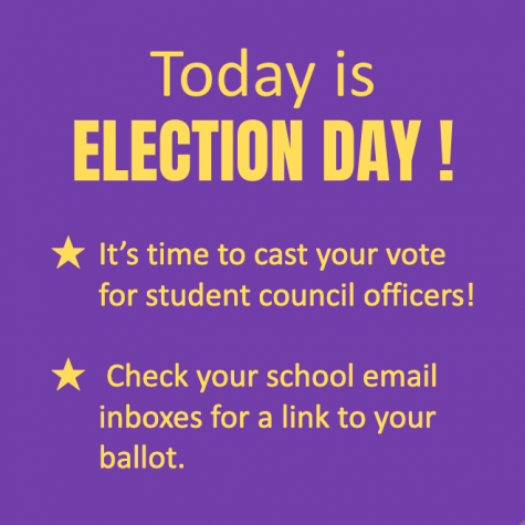 VOTE IN THE STUDENT COUNCIL ELECTION TODAY