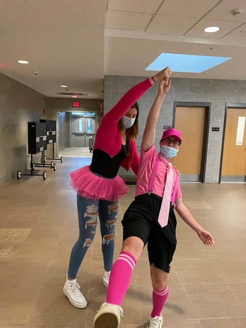 Seniors, Colin Reichelt and Katie Beichert kicking off spirt week with pink apparel to support breast cancer awareness month. Look out for more photos as the week continues!